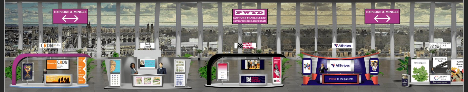 A section of RAREfest20 virtual exhibition hall  showing 4 exhibit stands with banners and posters and a backdrop drop photo of the rooftops of Cambridge