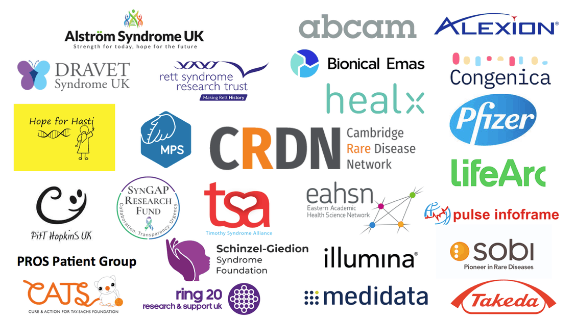 Logos of patient groups and companies at CRDN Companies Forum partnering event
